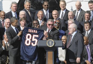 '85 Bears getting their White House opportunity, with Bears fan / POTUS Obama.