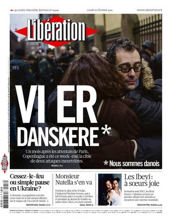 "Libération Front Page, February 16th 2015. (""We Are Danes"")"