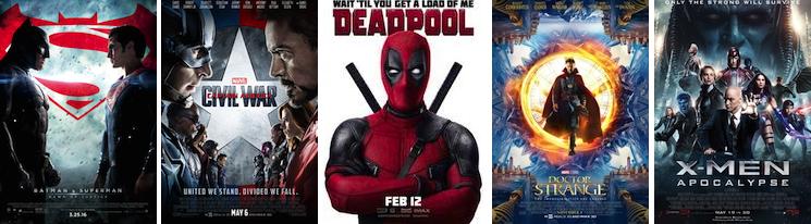 From Left to Right: Warner Bros., Walt Disney Studios, 20th Century Fox, Walt Disney Studios, 20th Century Fox
