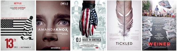 Netflix; Netflix; ESPN Films; Magnolia Pictures; Sundance Selects.