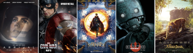 Paramount Pictures; Walt Disney Studios; Walt Disney Studios; Walt Disney Studios; Walt Disney Studios.